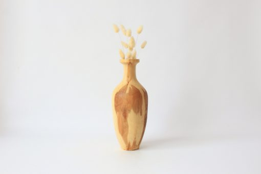 Tall Turned Wood Vase Rustic Decorative Kitchen Table