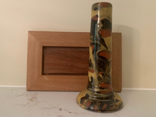 Peters & Reed Shadowware Marbleized Bud Vase - Vintage Art Pottery American Antique Mission Style