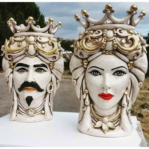 Pair Of Heads Moro Caltagirone With Zecchino Gold - Height 45 cm