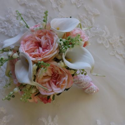 Lily Of The Valley, Pink Garden Rose & White Real Touch Calla Lily Bouquet, Bouquet Boutonniere, Wedding, Prom, Homecoming