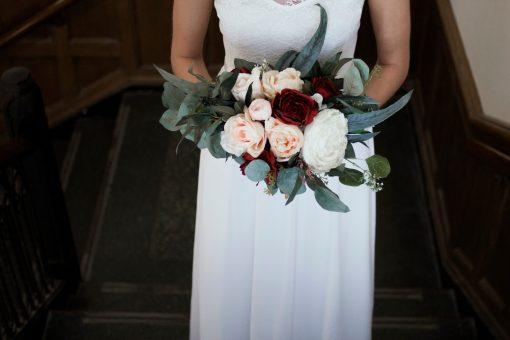 Wedding Bouquet, Burgundy Red, Boho Silk Bouquet, Silk Faux Garden Roses