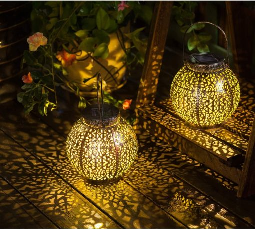 2-Pack Antiqued Bronze Solar Projection Lanterns For Pathway, Patio, Porch, Deck, Lawn, Garden, Wedding Special Event - Hanging Or Tabletop