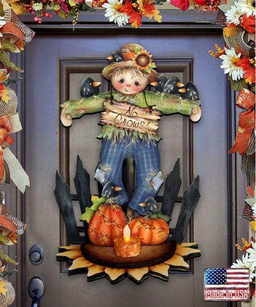 Outdoor Halloween Scarecrow Shelf Sitter - Jamie Mills-Price Design- Fall Decor Wooden Door Hanger Wall Decor #8457404H
