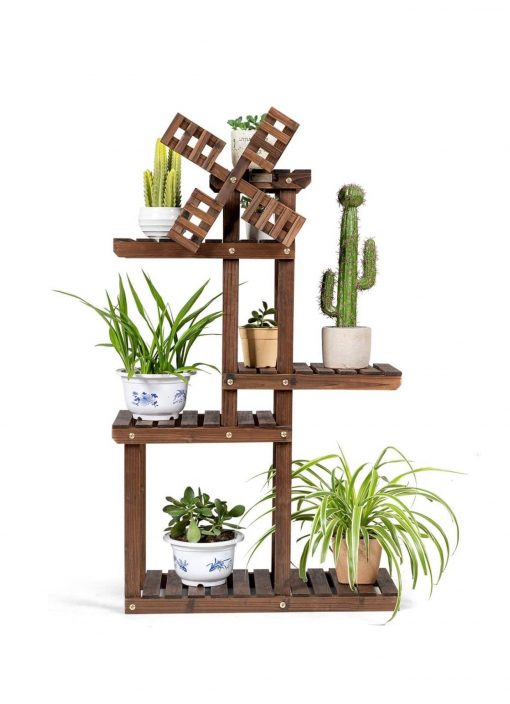 Wood Plant Stand With Windmill, 5 Tier Multiple Flower Pot Holder Display Shelf   5 Tiers Accommodate For 6-9 Flowerpots