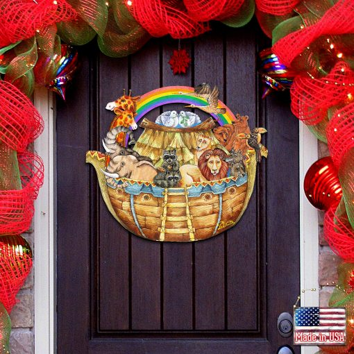 Noah's Ark Christmas Decorations - Home Garden Outdoor Indoor Wall Door Wooden Sign By G.debrekht 8114050H