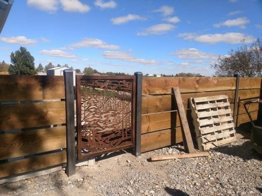 Rustic Gate Metal Garden Gate Design Etsy Handmade Gate, Metal Art Accent, Insert, Mountain Scene Art, Plasma Cut