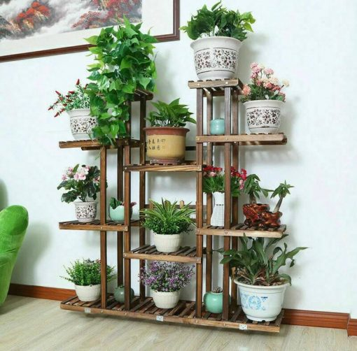 Large Multilayered 11 Tiers Wooden Indoor Plant Rack Stand Flower Pot Shelf Storage European Décor Style | Fathers Day Gift On Sale