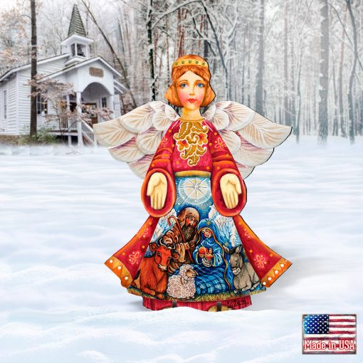 Outdoor Nativity Angel Christmas Wooden Free-standing Decoration 8152722F