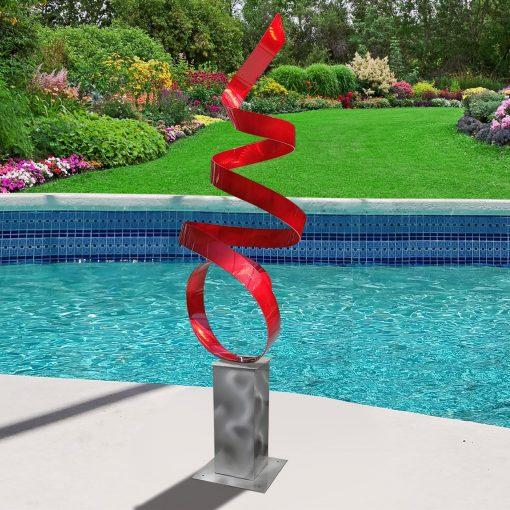 Large Metal Sculpture, Indoor Outdoor Art, Abstract Garden Decor Art Yard Sculpture - Red Sea Breeze With Silver Base By Jon Allen