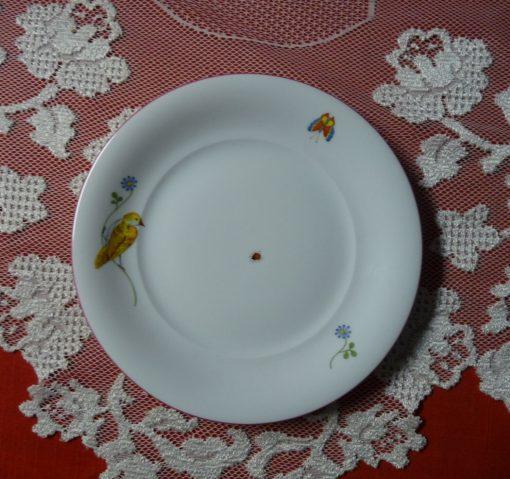 """Augarten Wien Vienna Austria - Hand-Painted Children's Dream 8"""" Plate With Rose Pink Rim Imperial Garden's Bird Design"""