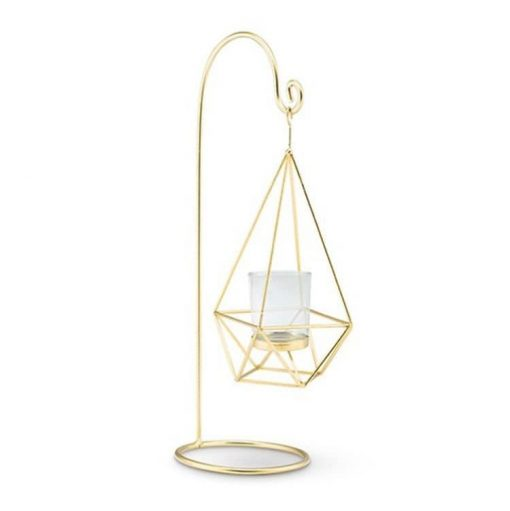 Geometric Gold Lanterns - Set Of 12 Hanging Wedding Candle Centerpiece Table Decor Decorations Metal Glass Garden Party Mw27038
