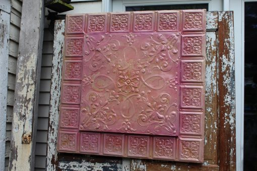 Rose Pink Vintage Glazed Recycled Ceiling Tin Tile Living-Bed Room Garden Victorian, Art Nouveau French Victorian Majolica Pottery Chintz