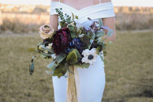 Wedding Bouquet, Burgundy, Peonies, Boho Rose Garden Fresh Brides Anenome