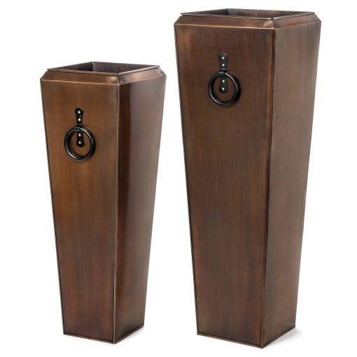 H Potter Tall Copper Set Of Two Planters, Large & Small As Shown Only, Outdoor, Indoor, Front Door Entryway Patio, Deck, Garden