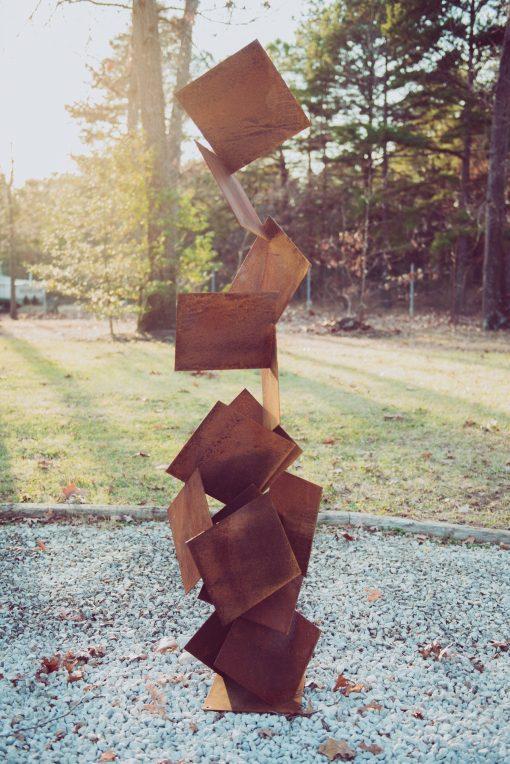 Otto Corten Abstract Tall Modern Rusted Patina Steel Sculpture