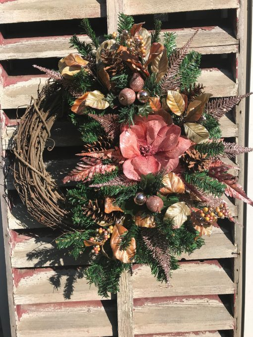 Mauve Magnolia All Winter Long After Christmas Pine Wreath For Front Door, Holiday Wreaths Door, Grapevine, Farmhouse
