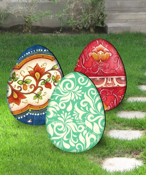 Outdoor Easter Decor Spring - Decorated Eggs Set Of 3 Freestanding Lawn By G.debrekht 8198712M-S3
