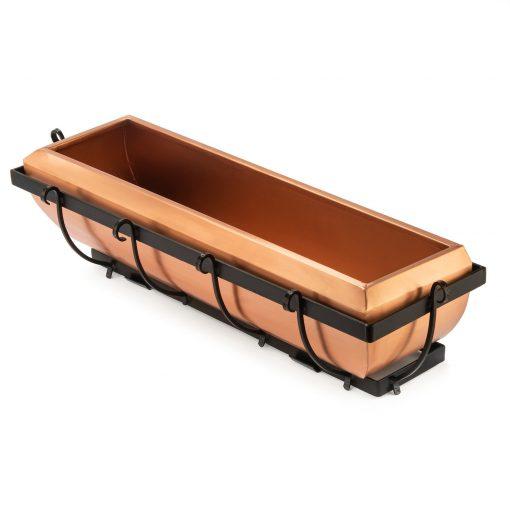 "H Potter, 30"" Copper Window Box Metal Planter, Brackets & Iron Frame Included, Outdoor Exterior, Herb Garden, Hanging, Flower, Deck"
