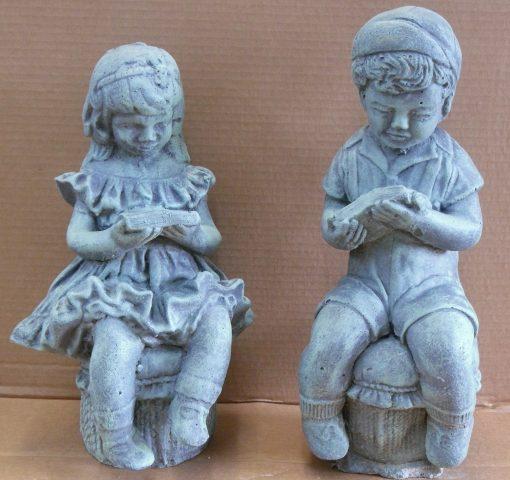 Children Garden Statue - Cement Statues Outdoor Ornament Figurines Patio Decor- Kid
