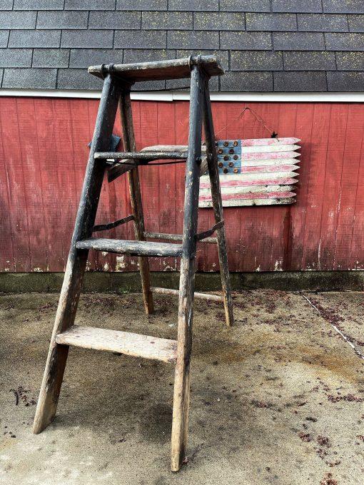 Vintage Wood Ladder Folding 4 Step Larger A Frame Paint Bucket Shelf Cast Iron Clamp Top Splatters Stains - Garden, Home Décor