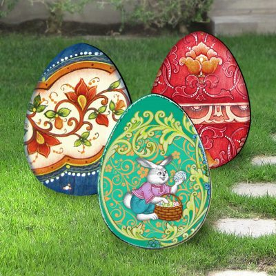 Outdoor Easter Decor Yard - Eggs Set Of 3 Freestanding Lawn By G.debrekht 8198712-4M-S3