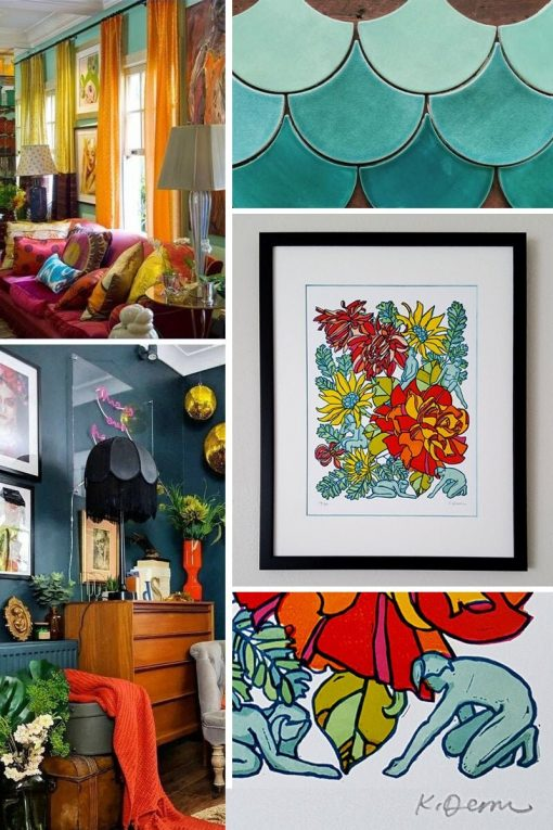Botanical Linocut Print Wall Art, Orange Flower Bedroom Art Print, Teal Living Room Décor, Linoprint Rose Framed