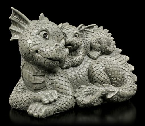 Mother & Baby Animated Dragons, Smile Dragon, Funny Décor, Baby Dragon Statue, Figure, Sculpture, Dragon Lover Gift