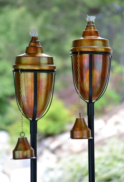 H Potter Set Of 2 Rustic Patio Garden Torches, Outdoor Dining Lighting, Patio, Deck, Pole Stakes Into Ground & Deck Mounts Also Included
