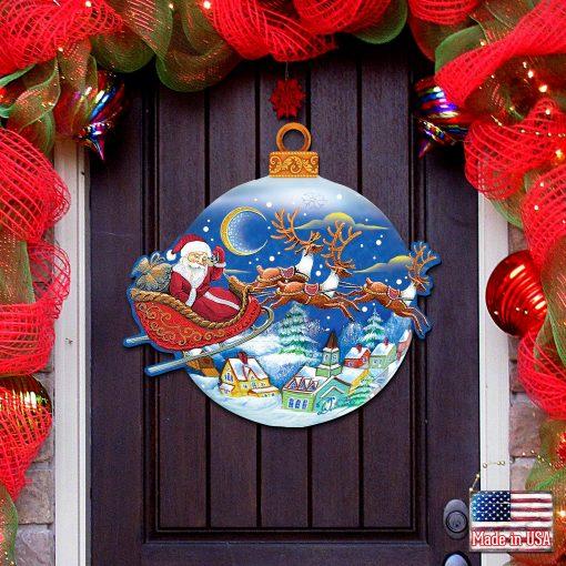 Christmas Decorations - Home Garden Outdoor Indoor Wall Door Wooden Santa Sign By G.debrekht 8112160H