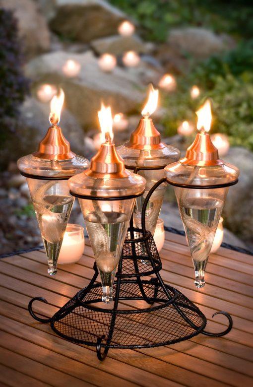 H Potter Tabletop Glass Torch Outdoor Christmas Lighting, Patio, Deck, Balcony, Terrarce, Backyard Decor Copper Top Unique Garden Gift Idea