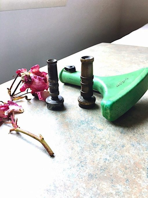 Vintage Brass Hose Nozzles, Rainbird Green Fan Sprinkler, Garden Tools