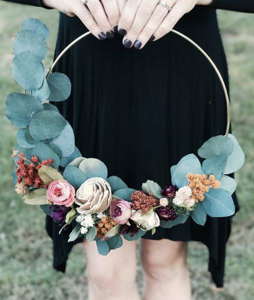 Hoop Bouquet, Boho Wedding Rustic Garden Wildflower Bohemian Bridal Floral Wall Hanging