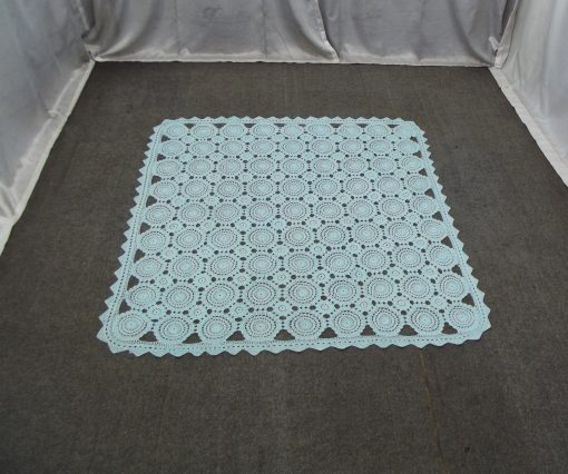 Handmade Crochet Needlework Blanket Bed Cover 5x5, Doily Rug Home Décor Boho Furniture, Square Bedspread For Baby Boy, Bedroom Decor