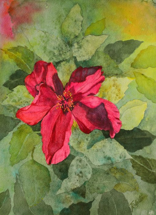 """Red Hibiscus Floral Watercolor Painting Original, 11"""" X 15"""", Flower Wall Art, One Of A Kind, Cottage Botanical Decor, Garden Flowers"""