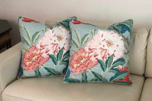 Schumacher Enchanted Garden in Aqua | On Both Sides Designer Pillow Covers With Self Welt, Double Sided, 20x20