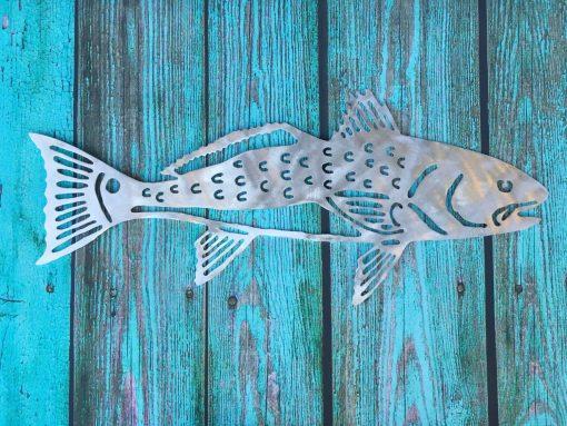 Red Fish, Metal Beach Home Decor, Wall, Patio, Garden Art, Tree Topper, Wedding Favor, Aluminum, Indoor, Outdoor, Won't Rust