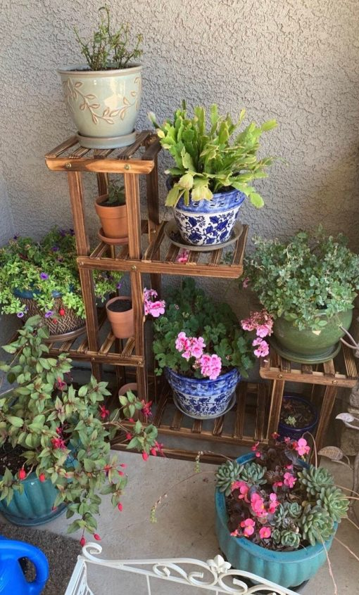 Anti-Corrosion Wood Plant Stand Flower Multi Shelf For Indoor, Outdoor, 6 Tier Gardening Organizer   Fathers Day Gift On Sale