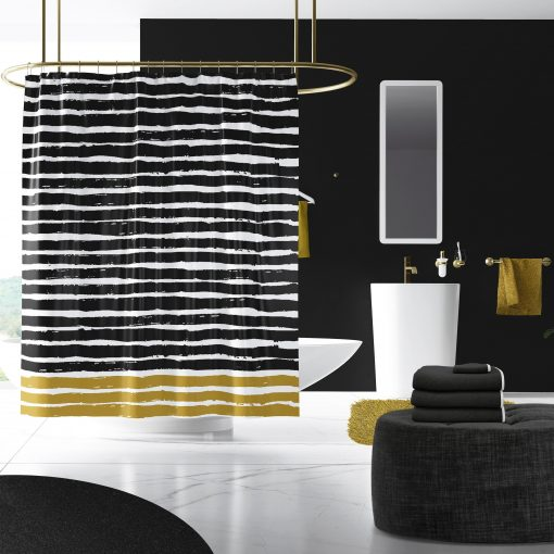 Jagger - Black White & Gold Abstract Stripes Shower Curtain