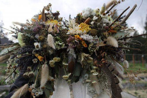 Dried Flower Bouquet, Elopement Lavender Mustard Yellow Antler Feather Rustic Woodland