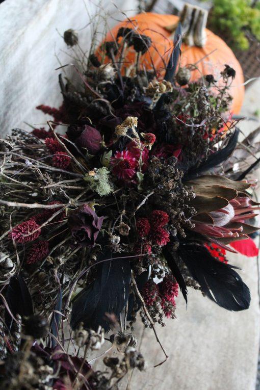 Dried Flower Bouquet, Red Bridal Goth Halloween Wedding, & Black, Black Boho