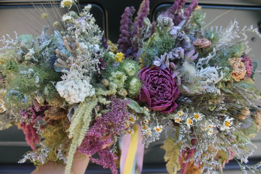 Dried Flower Bouquet, Pink Bridal Thistle Rustic Mauve Cascading Seattle Wedding, Elope
