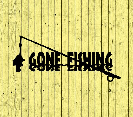 Gone Fishing Designer Metal Sign, Lake House Or Cabin Decor & Wall Art Signs , Gifts