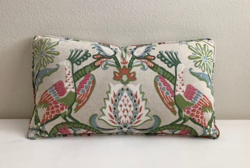 Thibaut Peacock Garden in Coral & Pink Designer Pillow Cover With Self Welt, 14x24