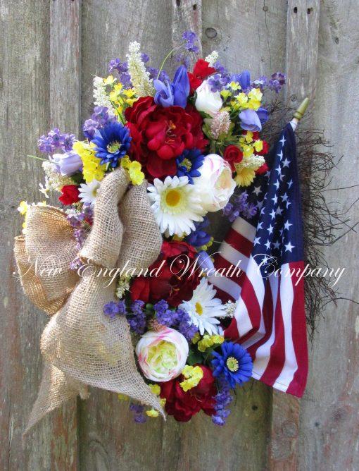 Floral Patriotic Wreath, 4Th Of July Elegant Décor, American Flag Garden Farmhouse Military Wreath