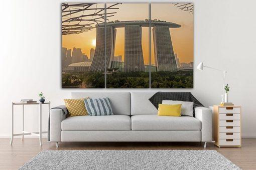 Wall Art Canvas Singapore Print Décor Photo Gallery Wall Set Travel Gift City Marina Bay Asia Decor