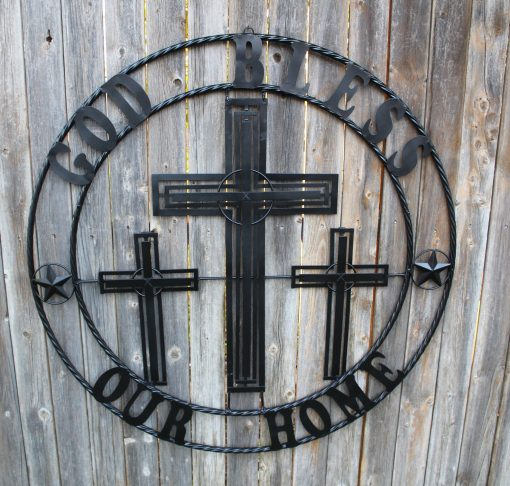 """40"""" Three Crosses Crucifix With God Bless Our Home Handmade Metal Wall Sign Art Western Decor Vintage Rustic Black Craft Handmade"""