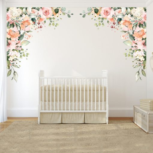 Rose Garden Quinn's Corners Wall Decal Flowers Pink Peonies & Blooms Mural Watercolor Flower Blossoms Removable