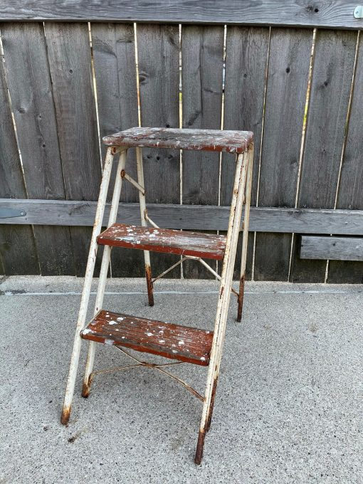 Vintage Ladder Small Mini Compact Three Step Two-Sided A Frame Rusty White Metal Sides Legs, Red Wood Steps Folding - Garden, Home Décor