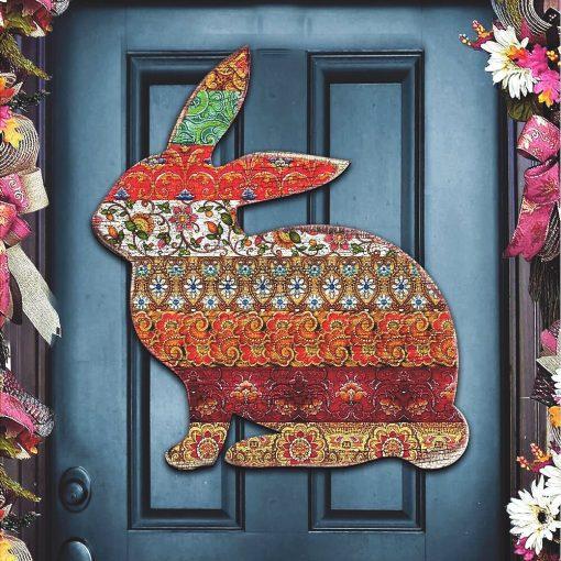 Patchwork Easter Bunny - Antique Garden Rabbit Wooden Decorative Door Hanger #8198134H