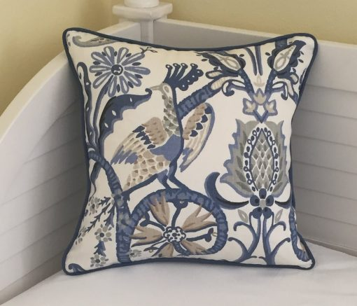 Thibaut Peacock Garden Designer Pillow Cover With Or Without Piping, Double Sided - Square & Euro Sizes